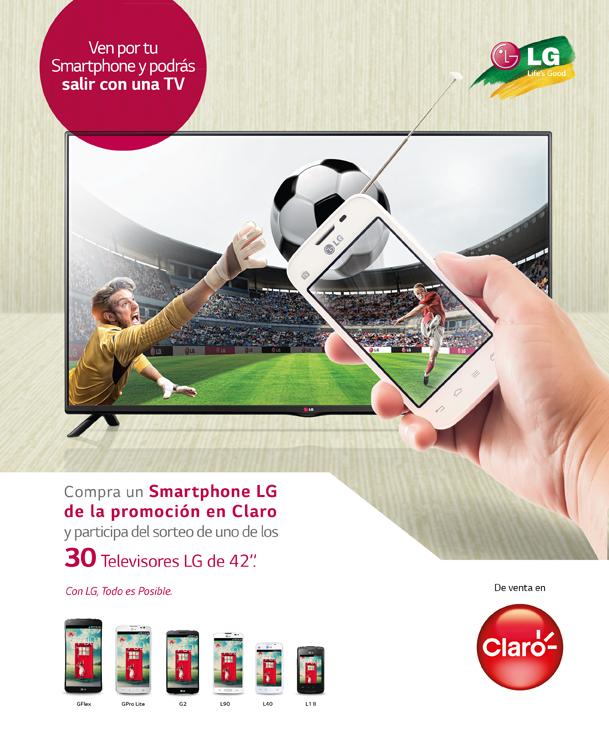 Compra tu smartphone LG en Claro y podrás llevarte un TV
