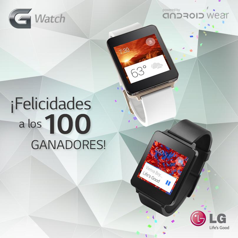"""Conoce a los 100 ganadores del concurso """"LG G3 & G Watch"""""""