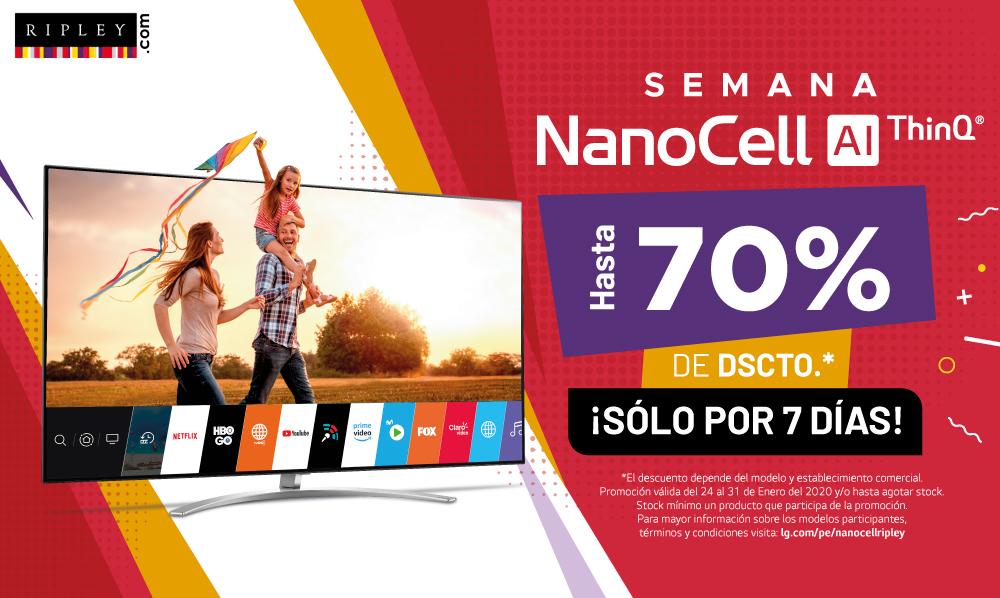 ¡Compra en Ripley Perú y aprovecha hasta un 70% de DSCTO. en LG NanoCell TV